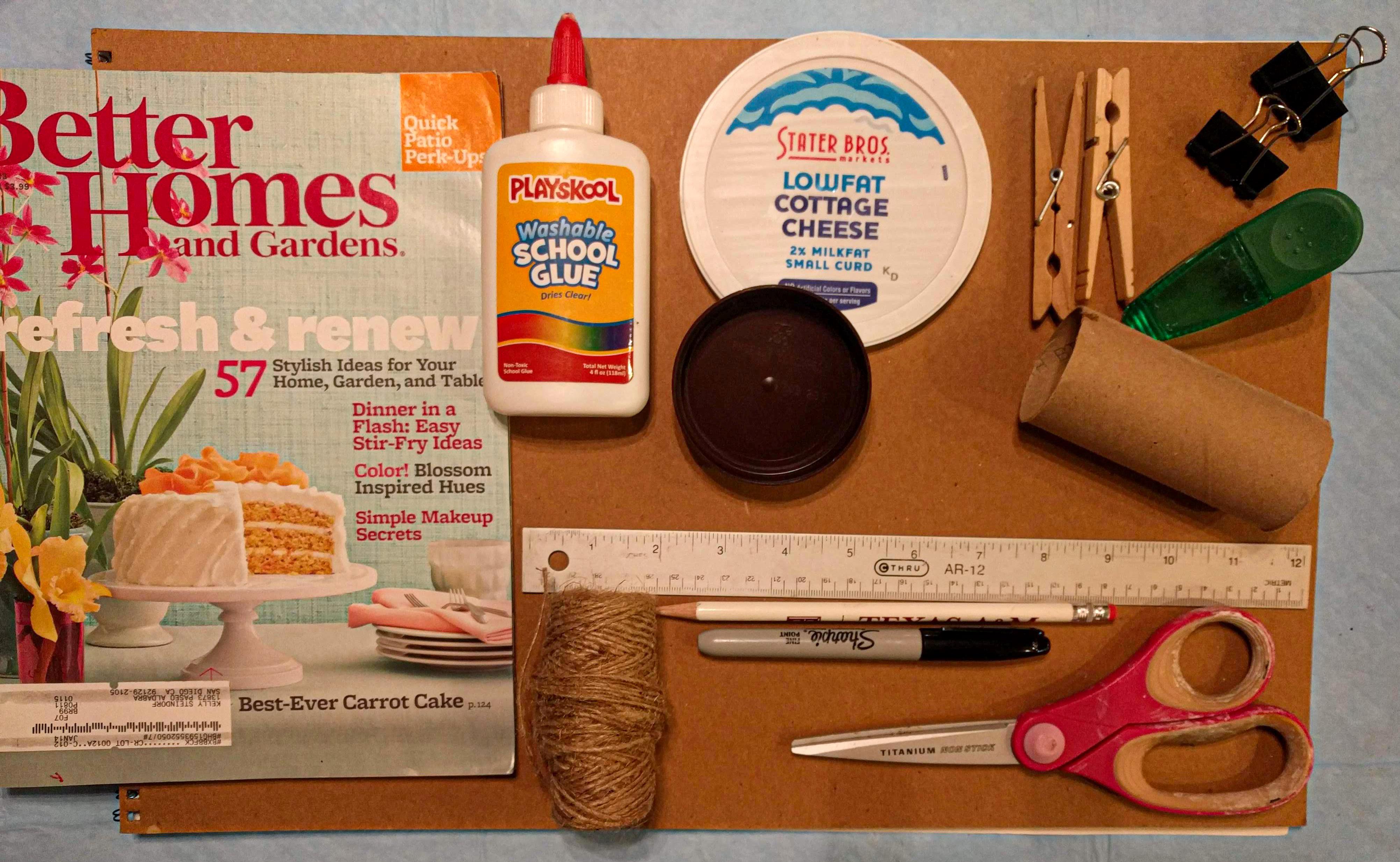 Supplies - Glue, Ruler, Scissors, magazines, lids